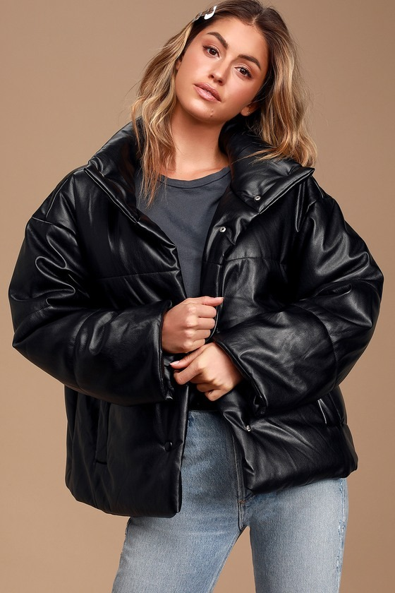 Weather or Not Black Vegan Leather Puffer Jacket