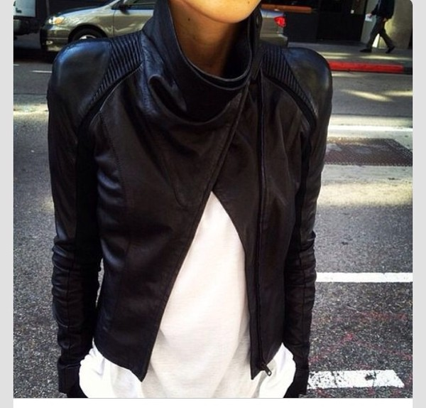 jacket leather jacket leather black fashion ribbed detail coat