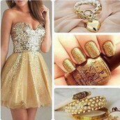dress,sequin dress,gold dress,party dress,jewels,bracelets,gold,nail polish,ring,doré,strass paillettes l,prom dress
