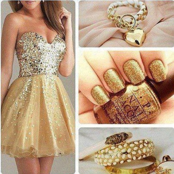 dress strass paillettes l prom dress doré sequin dress jewels bracelet bracelets gold nail polish rings