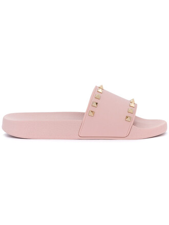 women pool leather purple pink shoes