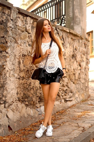 only my fashion style blogger adidas shoes leather shorts white top