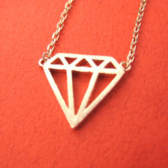 Simple Diamond Shaped Outline Cut Out Pendant Necklace in Rose Gold
