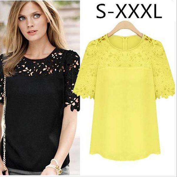 Aliexpress.com : Buy 2014 New Short Sleeved Lace Blouse Women Chiffon Hollow Out Blouses Casual Shirt Plus Different Size Tops Free Shipping from Reliable shirts hawaiian suppliers on Shenzhen Gache Trading Limited