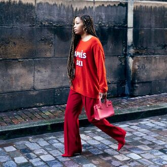 pants red pants wide-leg pants sweater red sweater all red wishlist bag red bag monochrome outfit