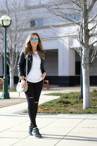 lilly's style blogger sunglasses leather jacket white sweater chloe bag nike sneakers ripped jeans black jeans