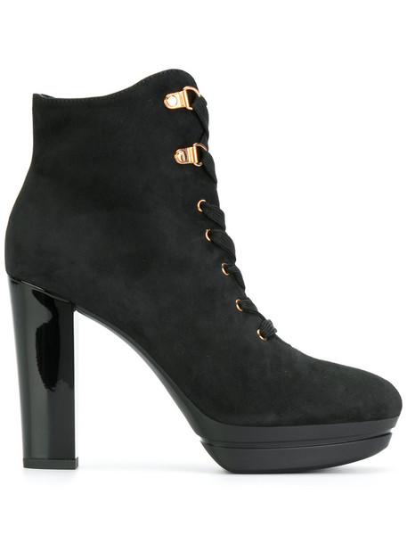 Hogan women lace leather suede black shoes