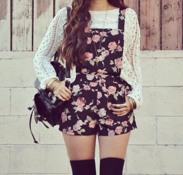 romper floral tumblr indie hipster pretty romper