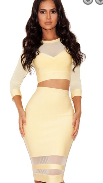 dress yellow dress two piece dress set bandage dress mesh dress