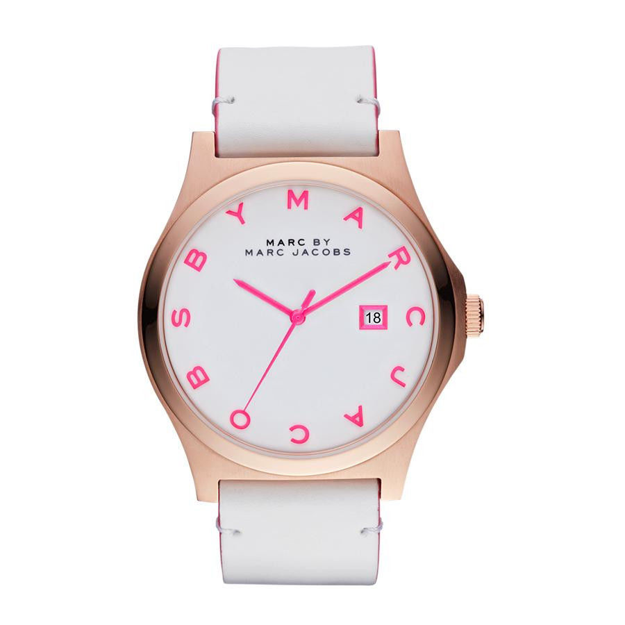 New Marc Jacobs Henry White Pink Dial Rose Gold Tone Steel Watch MBM1248 as Is | eBay