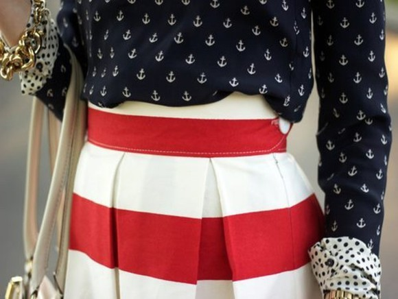 skirt red stripe pleated anchor print button up blouse anchor