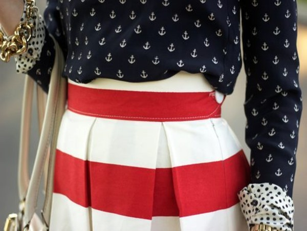 skirt red stripe pleated anchor print button up blouse anchor sailor