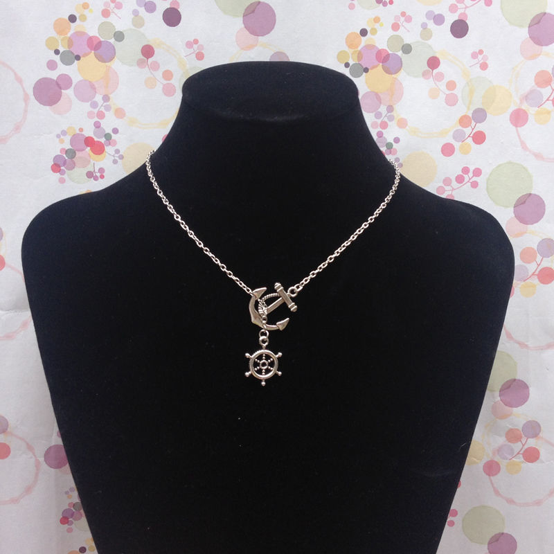 Hot antique silver plated anchor & rudder necklace vintage adjustable necklace.