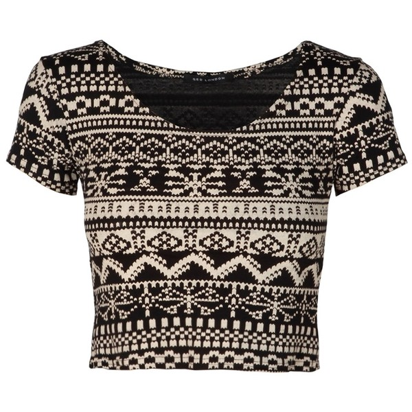 Black Aztec Print Short Sleeve Crop Top - Polyvore