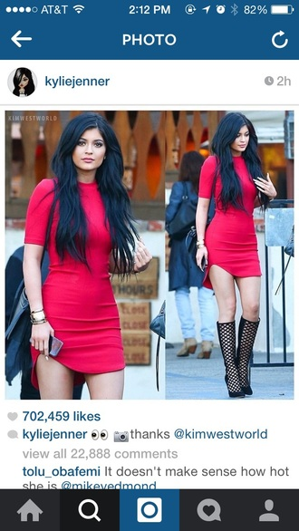dress kylie jenner dress red dress date night dress