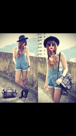 black hat bag black purse leather black perfecto denim overalls short overalls red lipstick