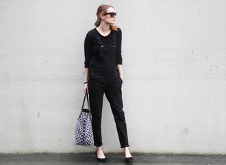 sara strand blogger overalls black tote bag