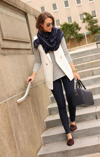 jacket white vest grey shirt blue scarf black skinny jeans brown loafers blogger sunglasses