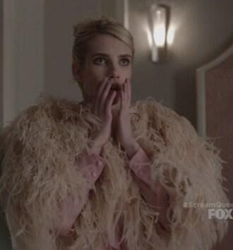 jacket feathers bolero scream queens emma roberts chanel oberlin skirt a line tie neck chiffon top
