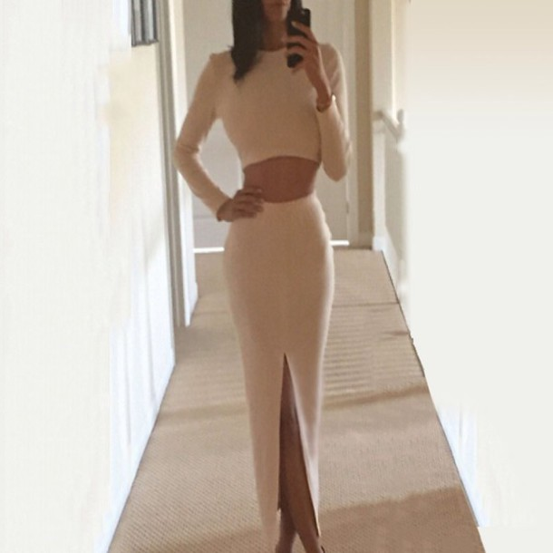 dress bodycon skirt long sleeves crop tops cute dress cute two-piece two piece dress set slit skirt slit dress slit white off-white slit maxi skirt