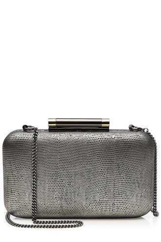 clutch leather silver bag