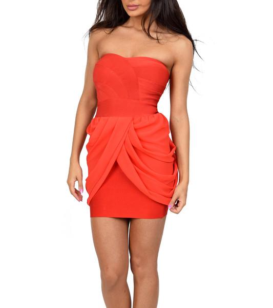 Diane Red Chiffon Bandage Dress | Emprada