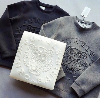 sweater kenzo tiger kenzo sweater grey sweater white sweater black sweater texture