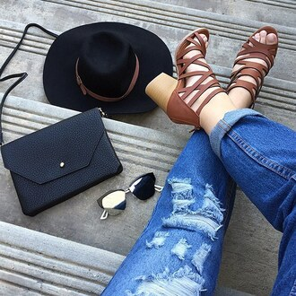 shoes hat accessories heels chunky heel denim blue jeans hole distressed denim sunglasses mirrored sunglasses gojane