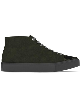 hair women sneakers leather suede green shoes