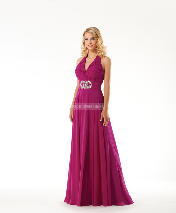 Empire Halter Beading Fuchsia Chiffon Ruched A-line Evening Dress - Promdresshouse.com