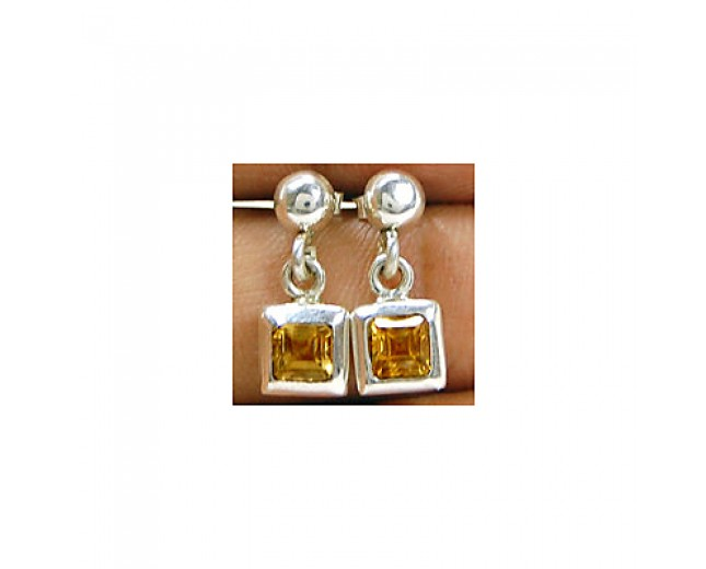 Unique 925 sterling silver Gemstone Citrine Stud