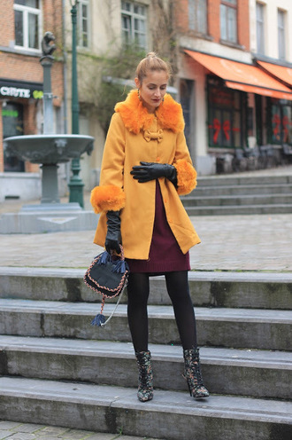 from brussels with love blogger coat shoes bag sweater winter outfits yellow coat boots leather gloves