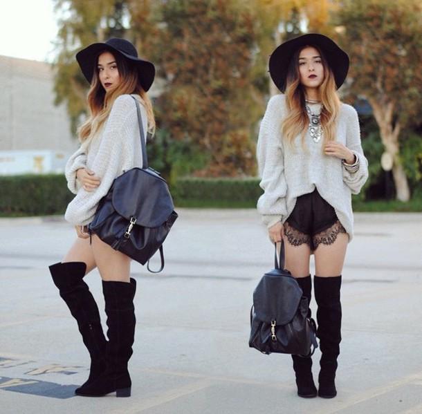 sweater grey sweater oversized sweater hat jewels bag shorts