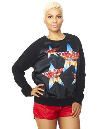 sweatshirt stars black sweatshirt satin