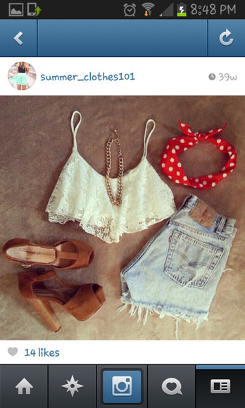 headband scarf top shorts necklace shoes blouse