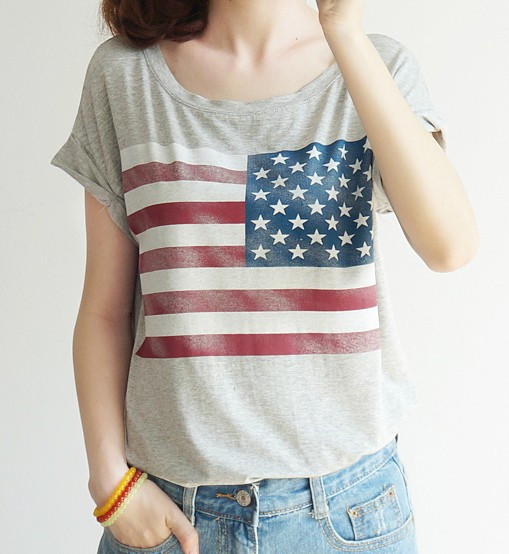 American flag printed short