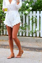 romper,crochet,boho,indie,chic,linen,embroidered,ruffle,quarter length sleeve,buttons,buttons on front,shoes
