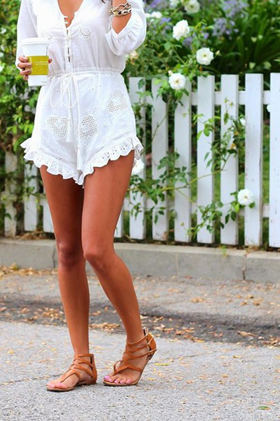 romper romper crochet boho indie chic linen embroidered ruffle quarter length sleeve buttons buttons on front shoes