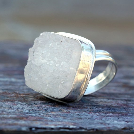 Iceberg druzy and sterling silver ring by thirtysixten on etsy