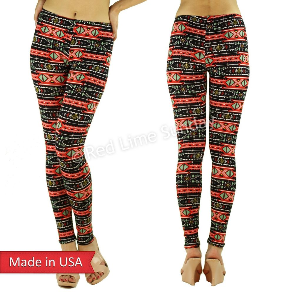 New Aztec Tribal Ethnic Red Stripes Print Color Cotton Leggings Tights Pants USA