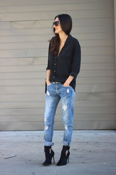 frankie hearts fashion blogger shirt jeans shoes bag jewels