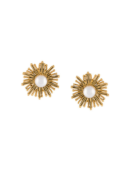 oscar de la renta sun women pearl earrings gold white jewels