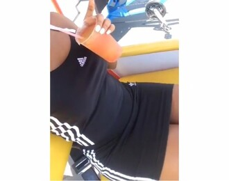 dress sporty sportswear adidas adidas dress adidas 3 stripes black dress white black mini dress bodycon dress bodycon