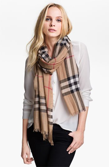 Burberry Giant Check Print Wool Amp Silk Scarf Nordstrom