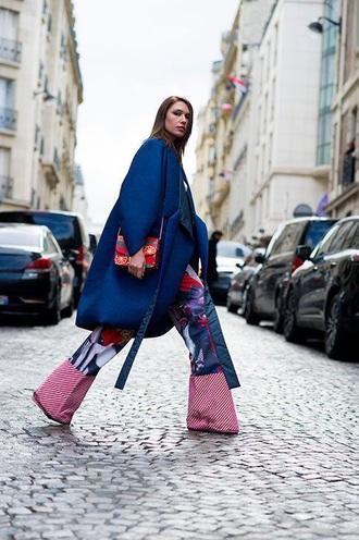 coat blue coat oversized coat oversized pants printed pants bag printed bag wide-leg pants