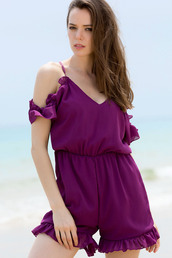 romper,purple,fashion,summer,cute,girly,spring,style,dressfo,off the shoulder,trendy,spaghetti strap,beach