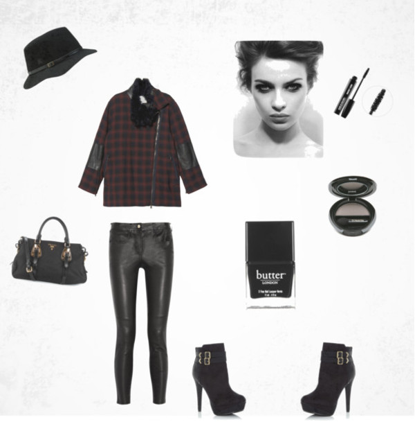 pants plaid plaid jacket leather pants black pants black leather pants grunge smokey eyes black nail polish butter leather purse fedora black fedora black hat eye shadow make-up make-up