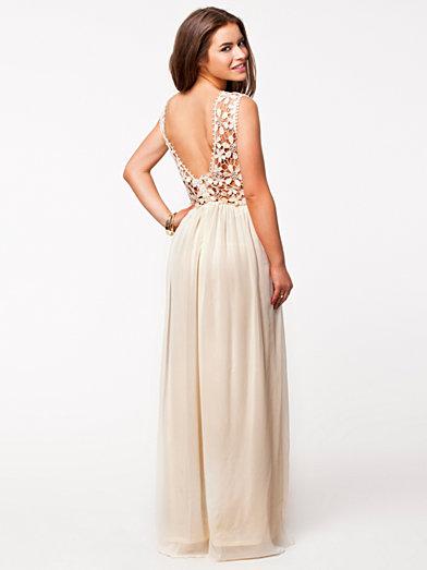 Crochet Top Maxi Dress - Club L - Cream - Party Dresses - Clothing - Women - Nelly.com