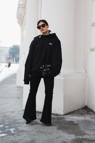 top boots black hoodie hoodie pants black pants flare pants bag sunglasses