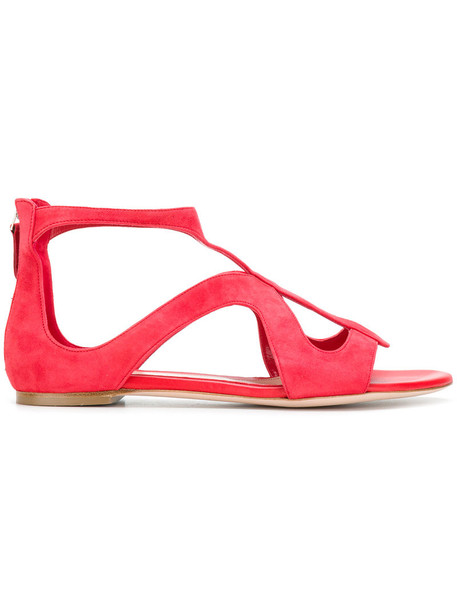 Alexander Mcqueen strappy women sandals strappy sandals leather suede red shoes